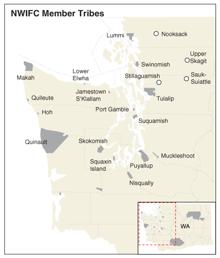 Map of NWIFC Member Tribes
