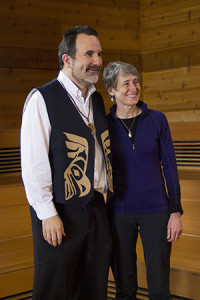 Suquamish Tribe Chairman Leonard Forsman and Secretary of the Interior Sally Jewell, following a morning of discussions about tribal issues and climate change.