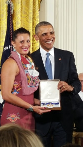 Peggen Frank and President Obama with the Medal of Freedom presented to Billy Frank Jr. It is the nation's highest civilian honor.