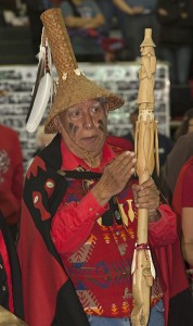 Phillip Martin, Quinault Indian Nation elder, helps lead ceremonies at the Canoe Journey hosted by Quinault Indian Nation in 2013.